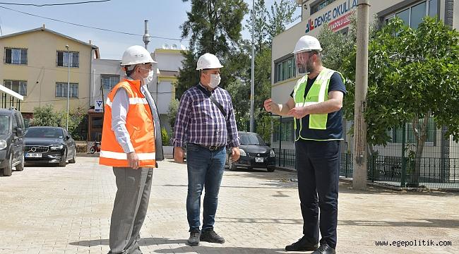 Başkan Utku Gümrükçü'den üst yapı çalışmalarına yerinde inceleme