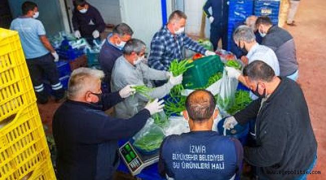 İzmir Sebze Meyve Hali esnafından Biz Varız dayanışmasına destek