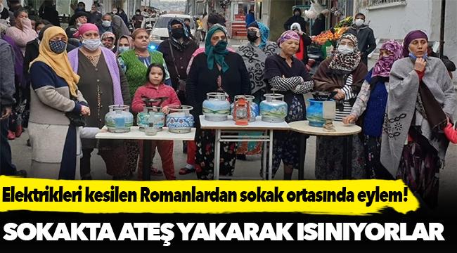 Elektrikleri kesilen Tepecikli Romanlardan tüplü protesto
