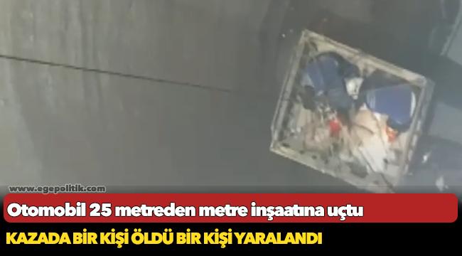 Otomobil 25 metreden metro inşaatına uçtu: 1 ölü, 1 yaralı