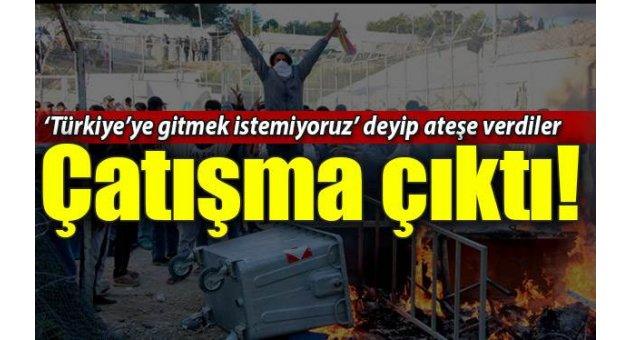 Türkiye'ye gelmek istemeyen göçmen kampında çatışma çıktı